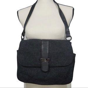 Versatile Gray and Black Wool Blend Shoulder Purse